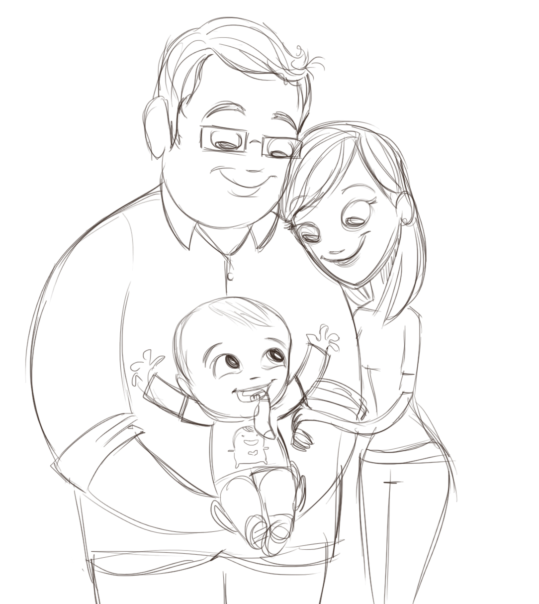 1084x1214 Penguin Stands Alone Family Sketch.