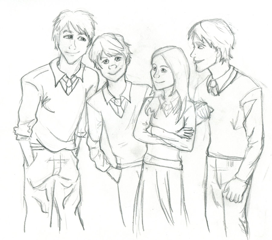 900x794 Weasley Family Sketch By Gunslingersaura
