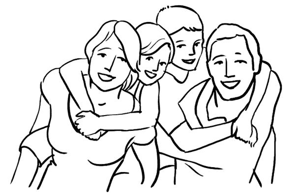 Family Of 4 Drawing