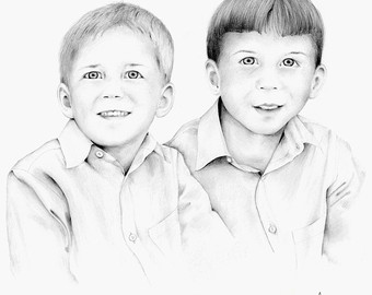 340x270 Portrait Drawing Custom Portraits Pencil Drawing Hand Drawn