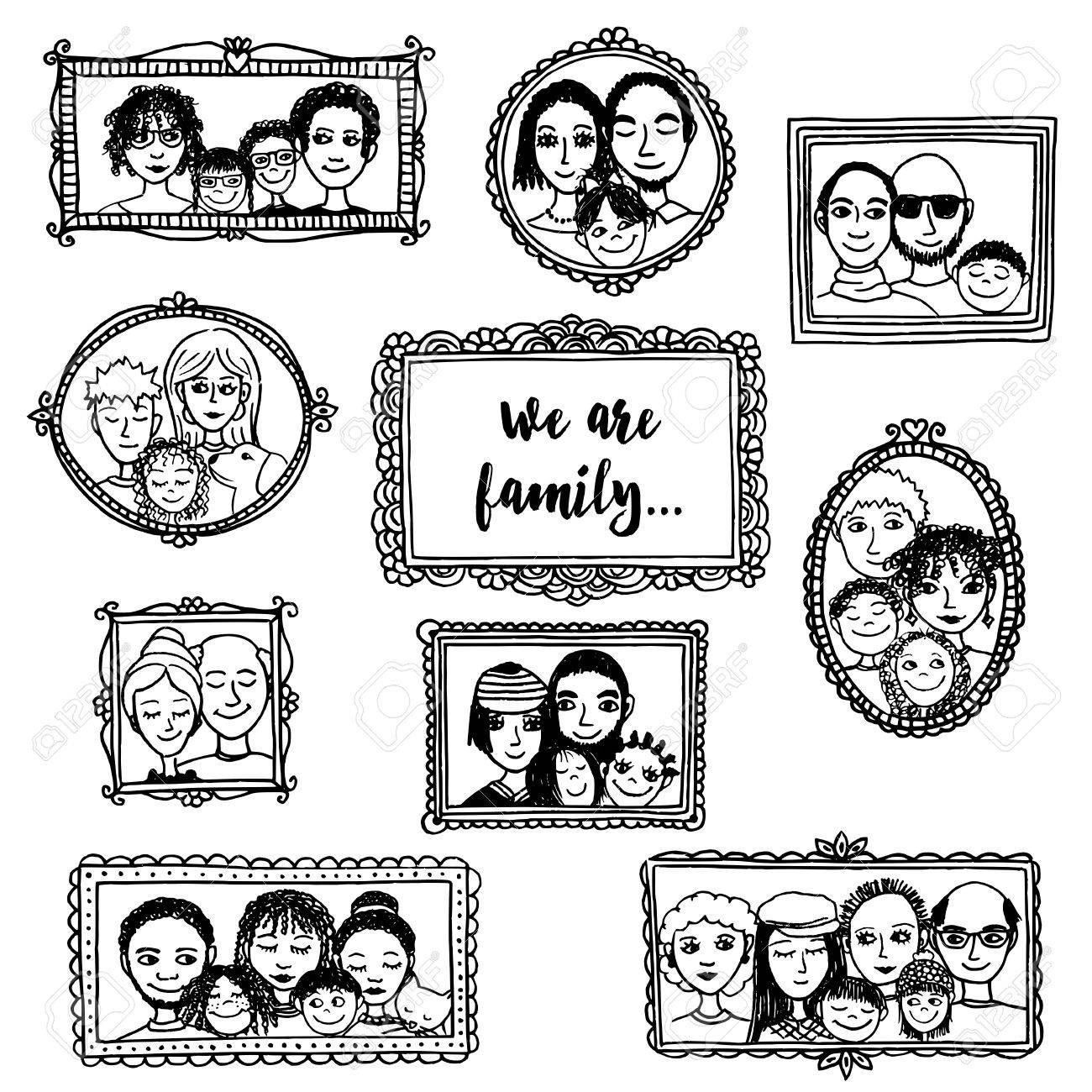 1300x1300 We Are Family! Cute Hand Drawn Picture Frames With Family