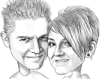 340x270 Cartoon Portrait Etsy