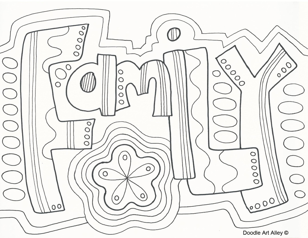 1035x800 Family Doodle Coloring Page Zentangle Word Wuote Art