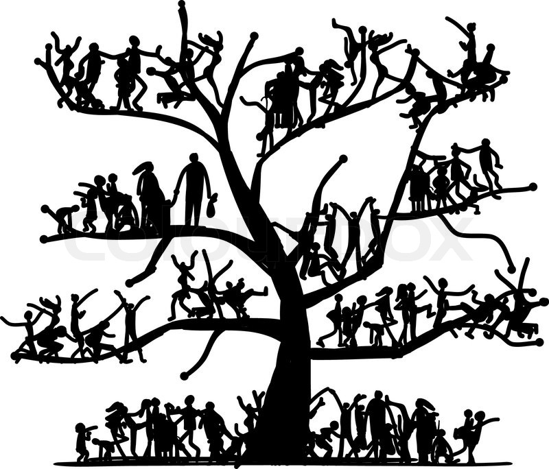 800x684 Tree Of People, Sketch For Your Design Stock Vector Colourbox