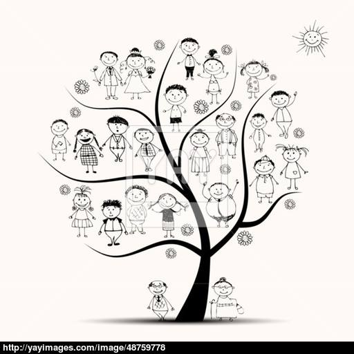 512x512 Family Tree, Relatives, People Sketch Vector