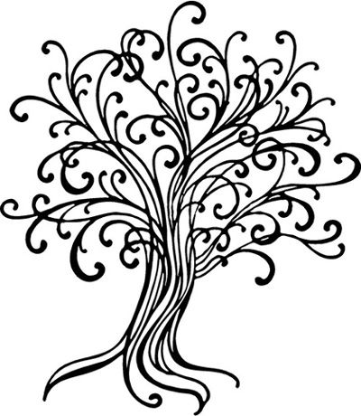 400x460 Large Line Draw Tree Wall Decal Family Trees, Walls And Tattoo