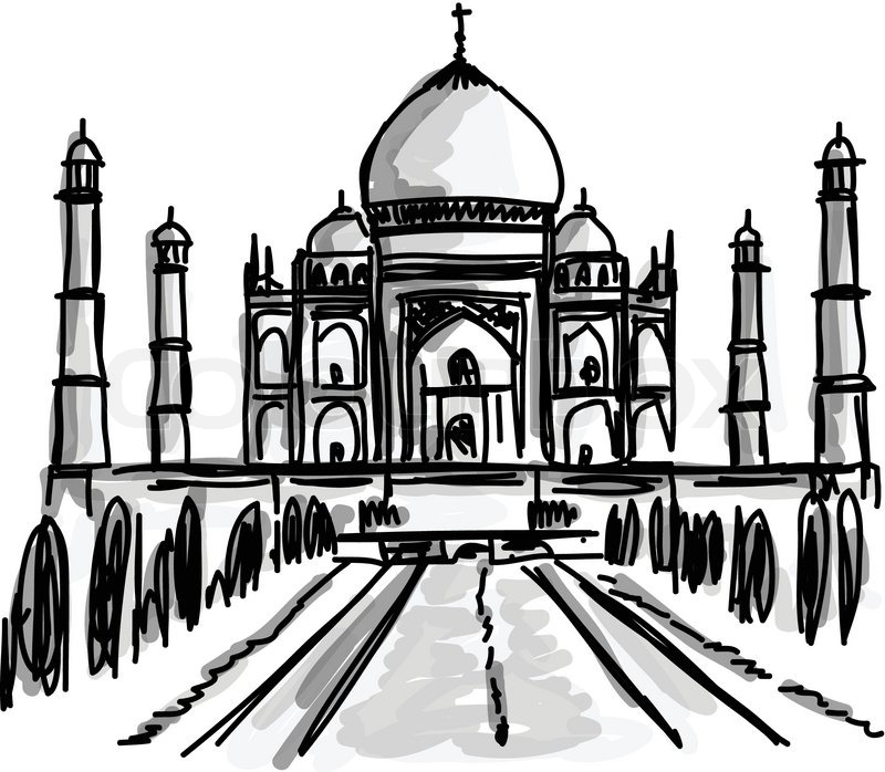 800x698 Vector World Famous Landmark Collection Taj Mahal, Agra, India