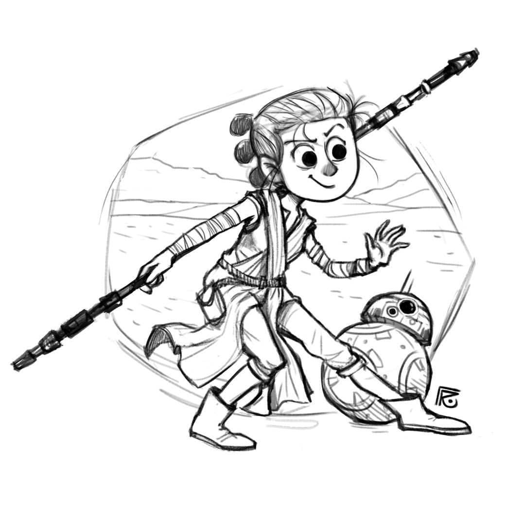 1080x1080 Rai.tumblr Rey And Bb 8 Sketching A Fan Art Of These Amazing