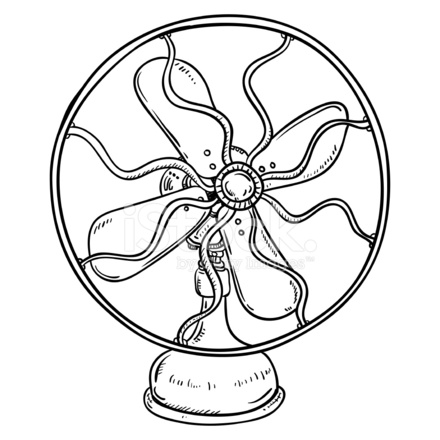 440x440 Vintag Fan In Black And White Stock Vector