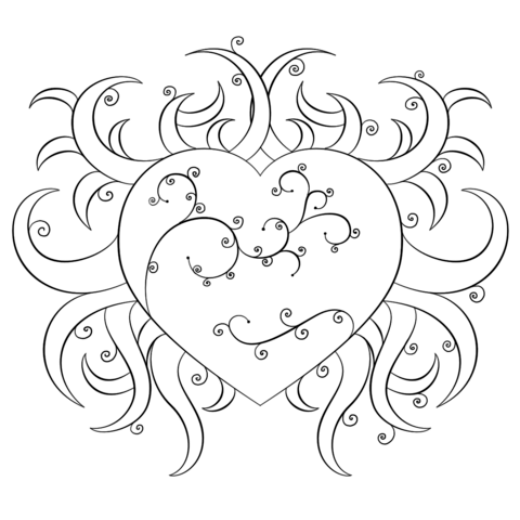 480x480 Fancy Heart Coloring Page Free Printable Coloring Pages