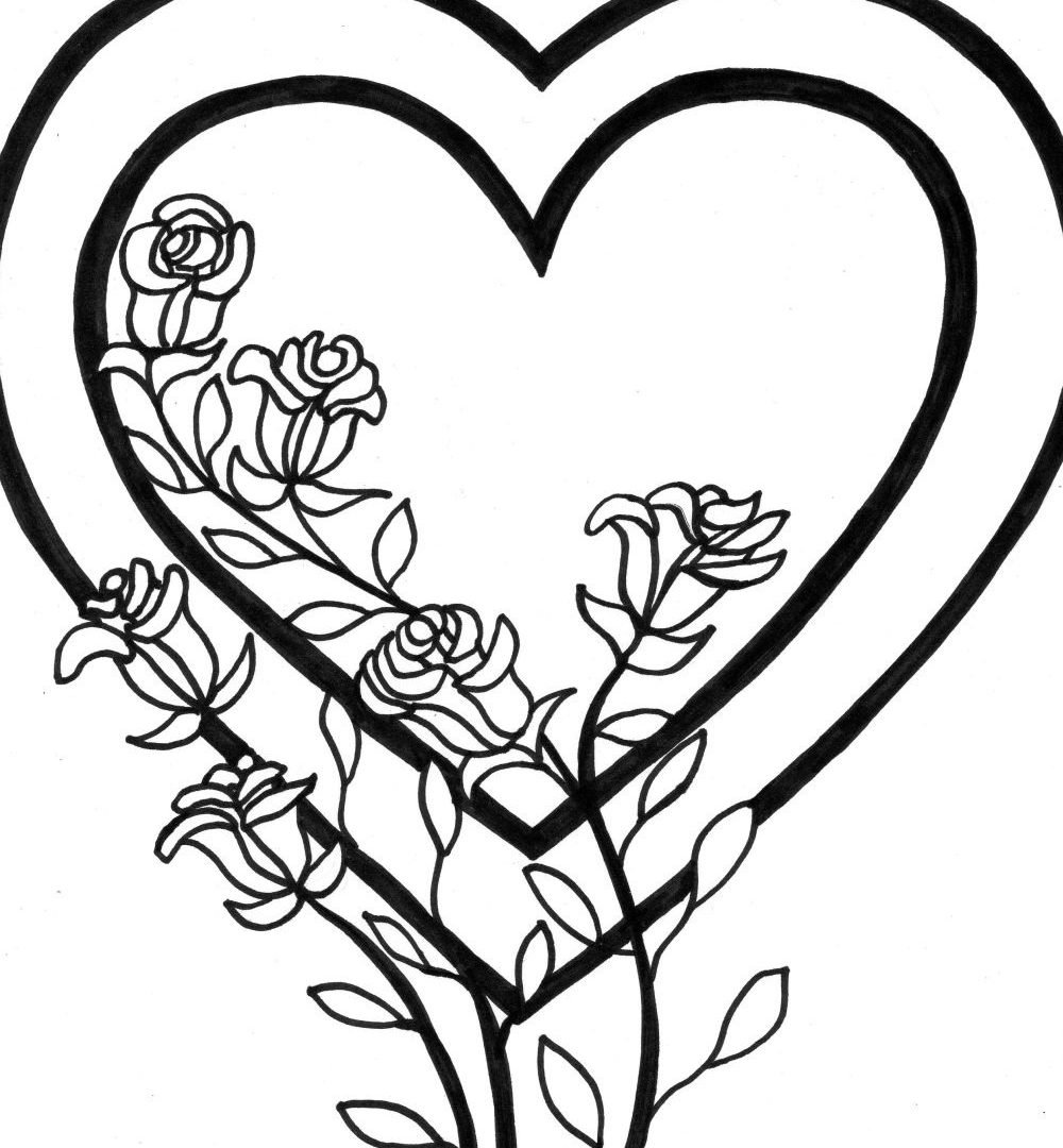 1000x1080 Fancy Ideas Free Heart Coloring Pages Valentine Best For Kids