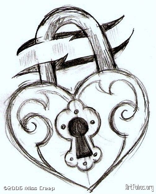 504x627 Key And Lock Drawings This Is Just A Sketch For A Simple Tattoo