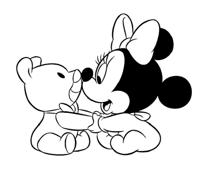 700x575 Baby Mickey Minnie Heart Disney Coloring Pages Printable To Fancy