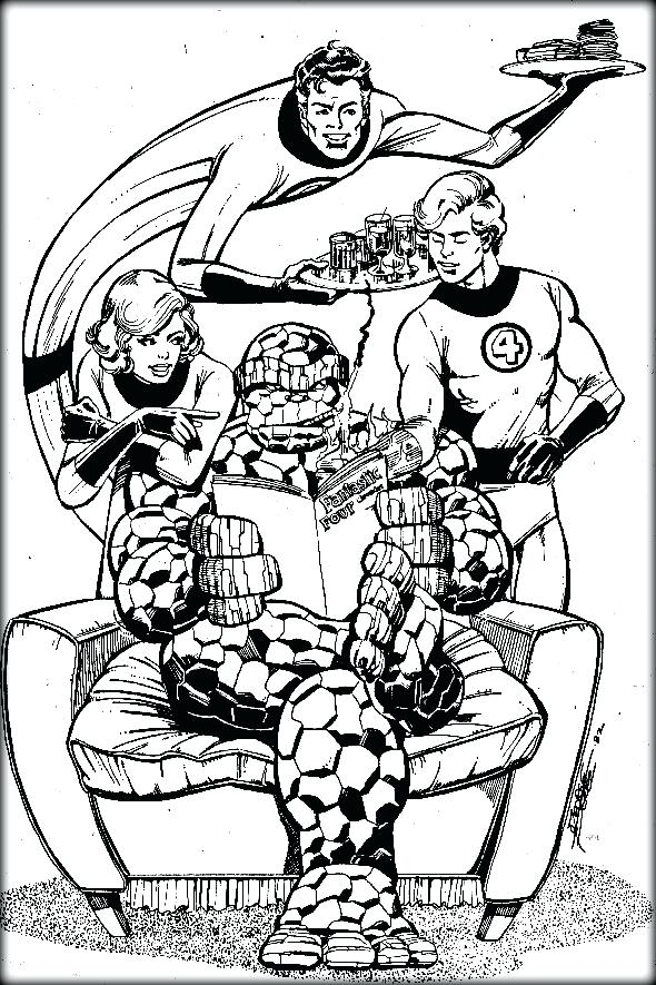 590x885 Fantastic Four Coloring Pages Amazing Fantastic Four Colouring