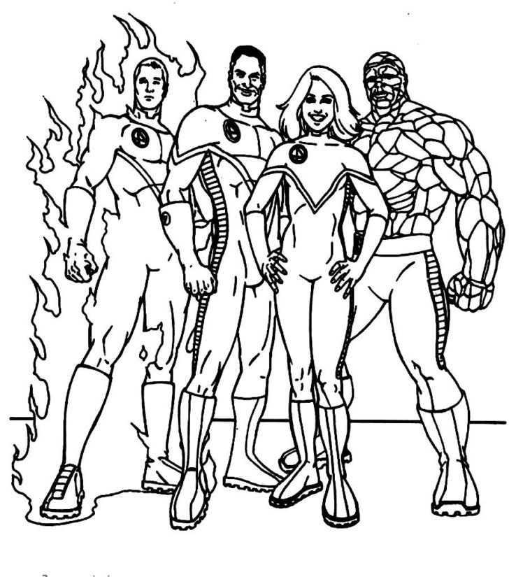 728x825 Fantastic Four Coloring Pages To Amusing Draw Page Kids Coloring