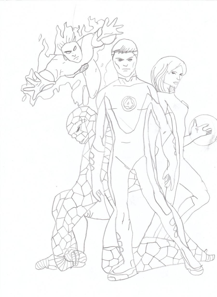900x1233 Fantastic Four Drawing By Lucafon