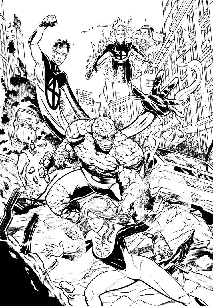 746x1070 Fantastic Four Inks. By Trucas
