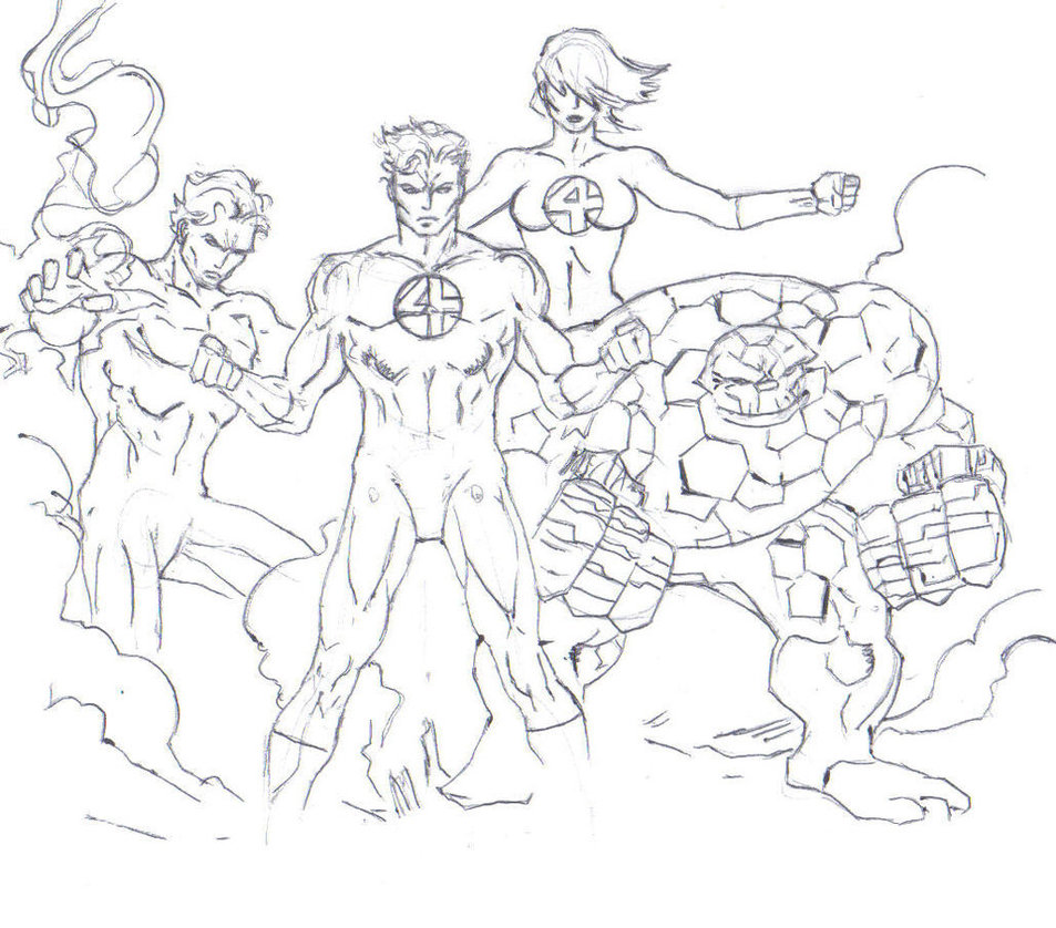 953x838 Fantastic Four Drawing (Entire Team) By Electronicdave