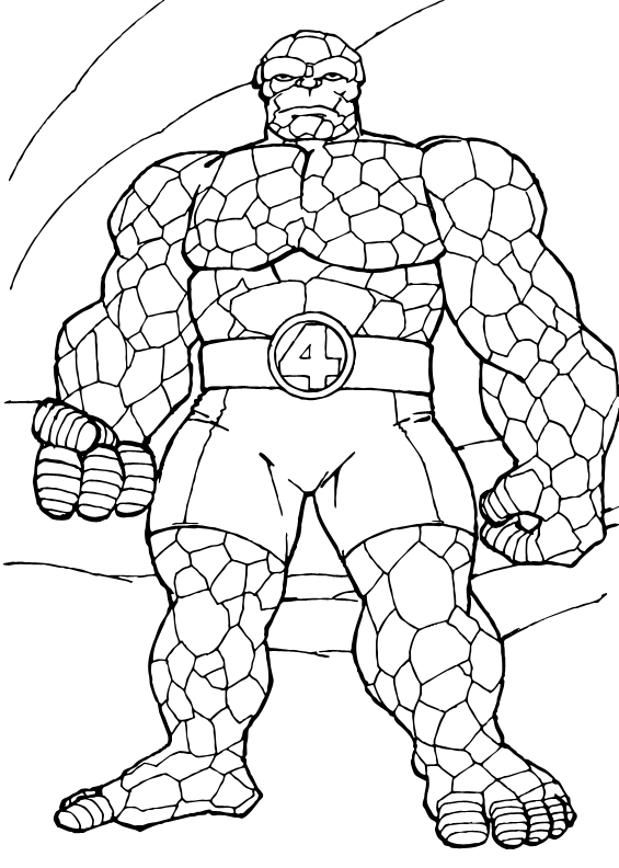 565x792 Coloring Page Of The Things Rock Muscle. A Drawing Of The Famous