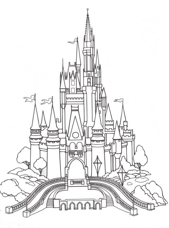 594x800 Disneyland Paris Castle Line Art By On