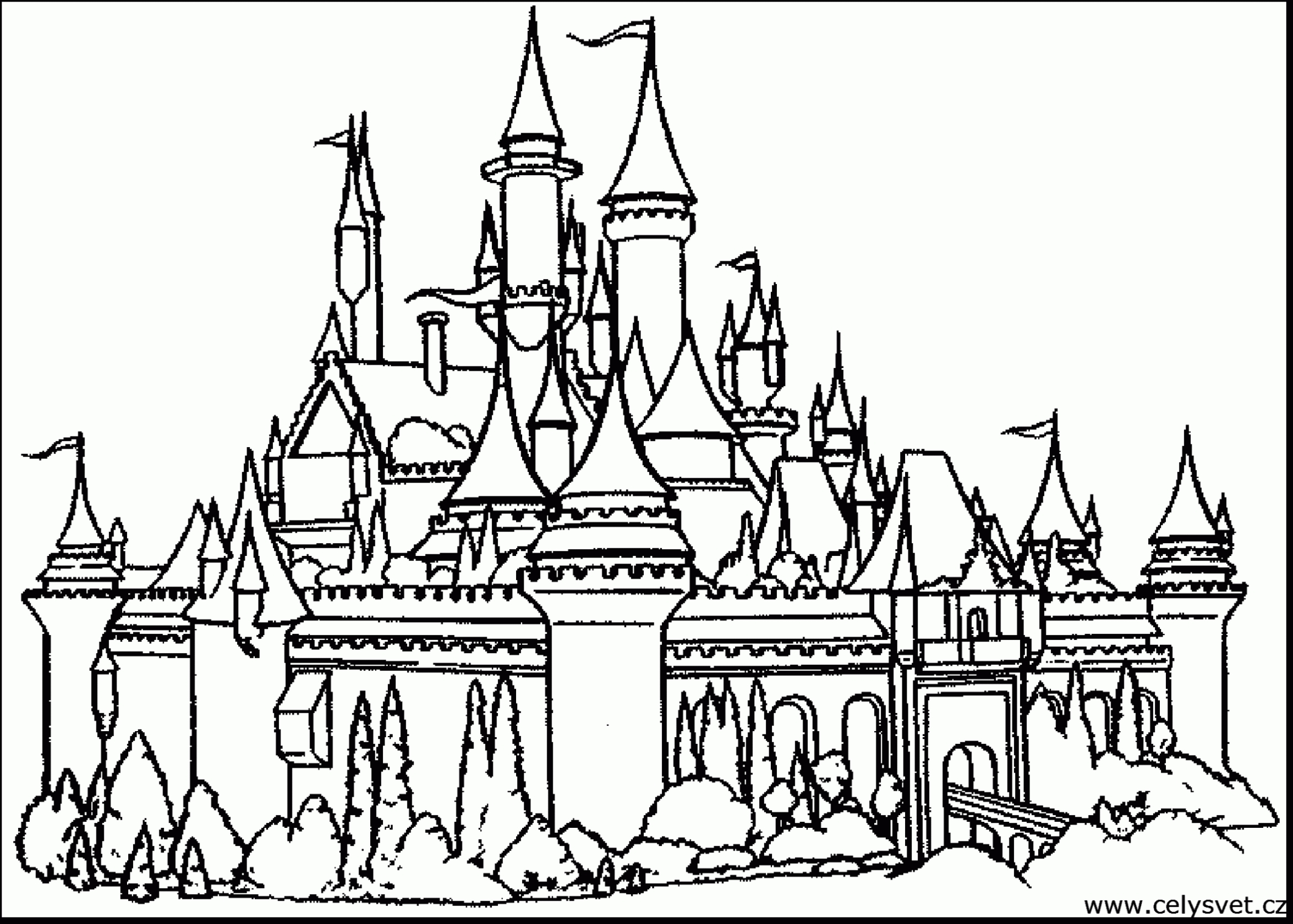 2340x1672 Fantasy Castle Coloring Page Pages