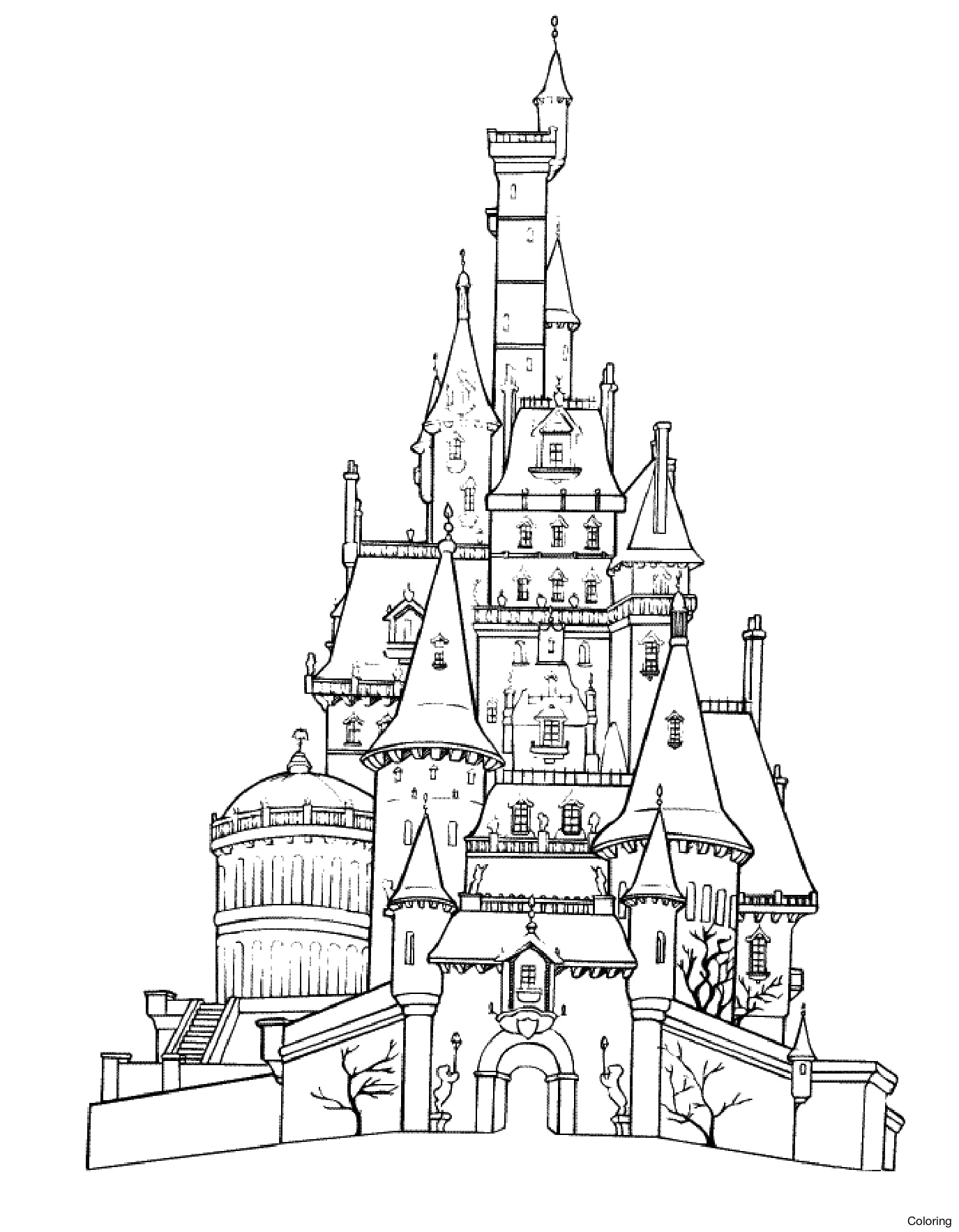 1375x1765 How To Draw A Cartoon Castle For Kids Step Fantasy Coloring 17f