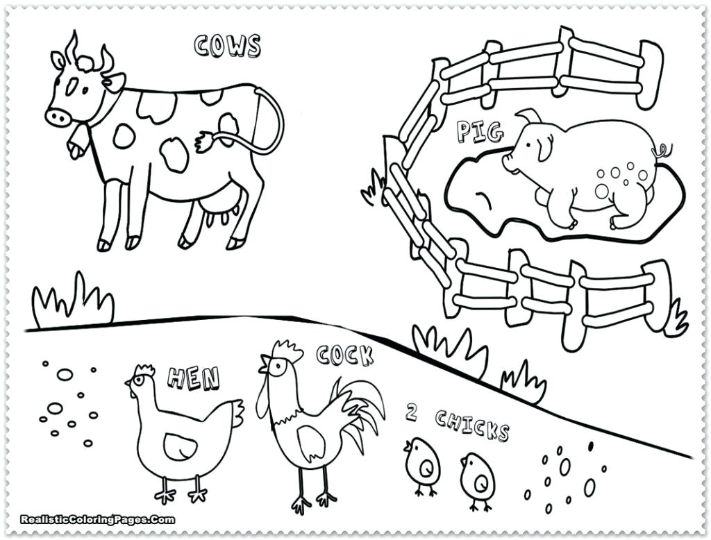 1024x778 Coloring Farm Animal Coloring Pages Barnyard Animals Drawing Easy