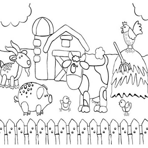 This is an image of Canny Drawing Of Farm Animals