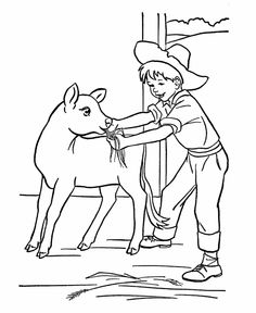 236x288 Farm Work And Chores Coloring Page Chase The Pigs Colouring