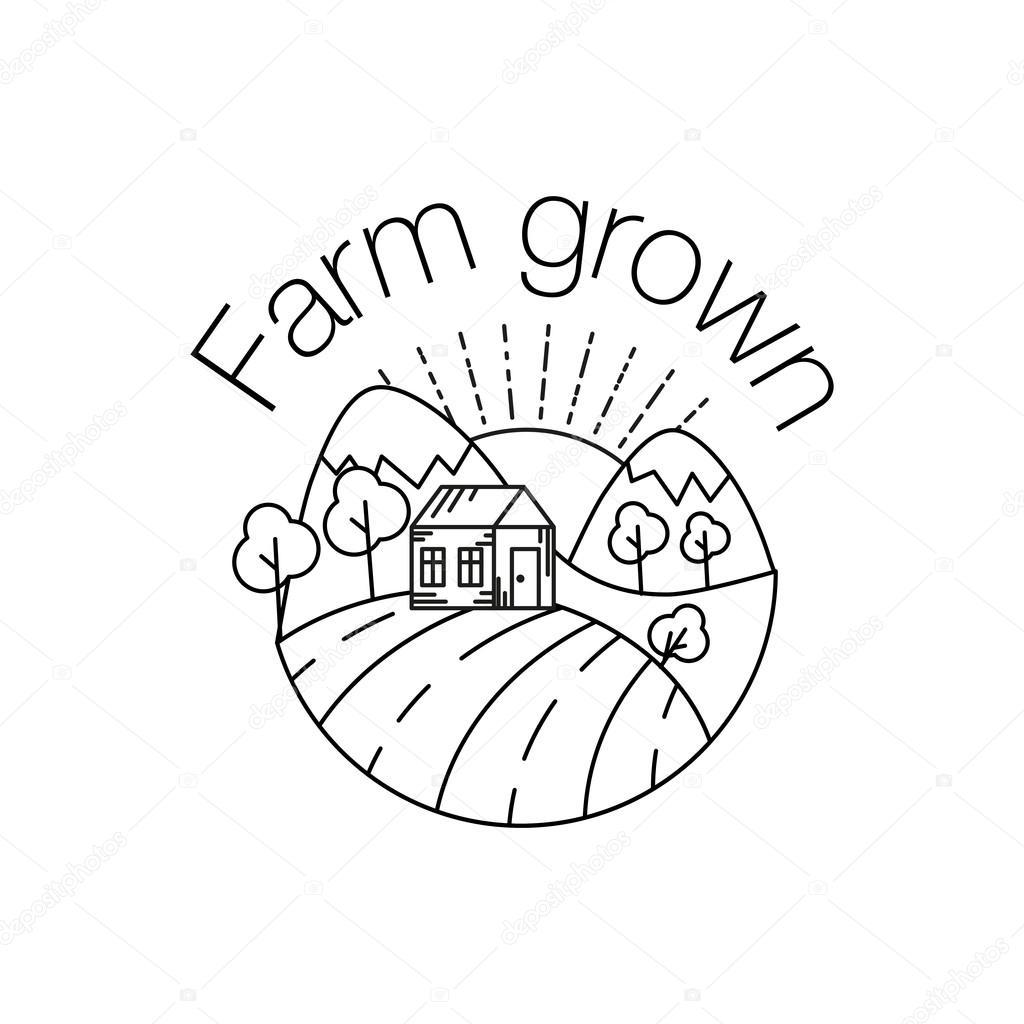 1024x1024 Farm Grown Outline Icon For Organic Food And Restaurants. Farm