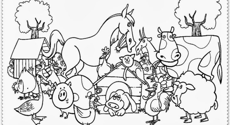 735x400 Animal Coloring Coloring Page Farm Animal Farm Field Coloring