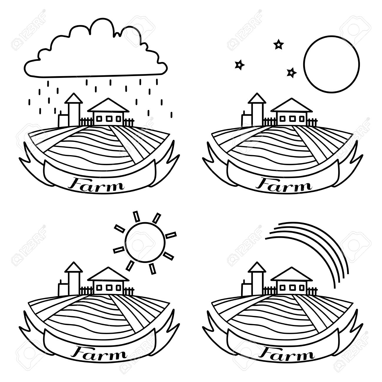 1299x1300 Rural Landscape With Fields And Houses. Day, Night, Rainbow