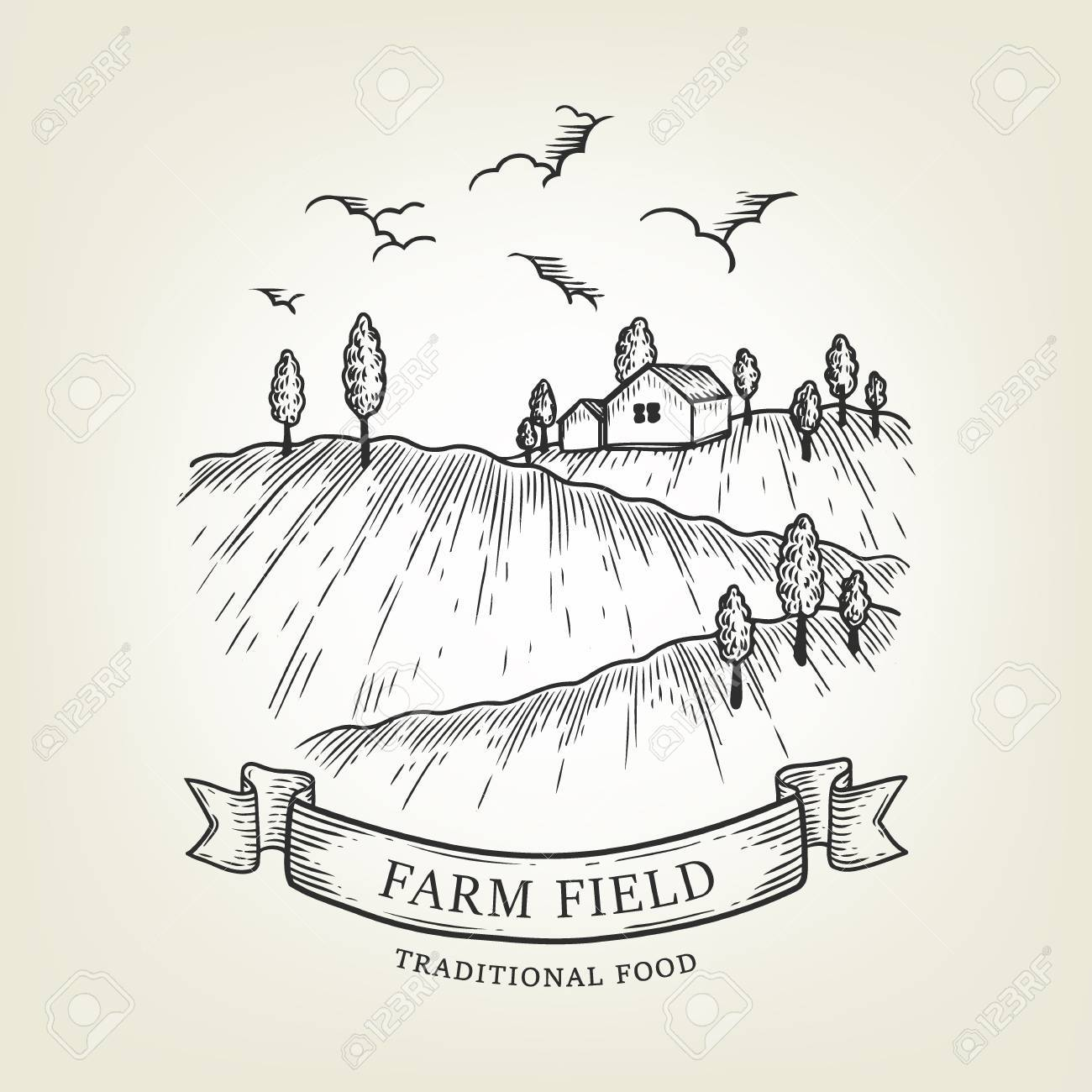 1300x1300 Vector Farm Landscape. Rural View Done In Graphic Style, Isolated