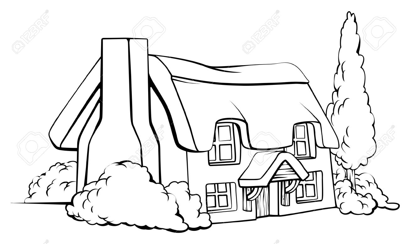 Farm House Drawing at GetDrawings.com | Free for personal use Farm ... for Farmhouse Cartoon Black And White  111ane