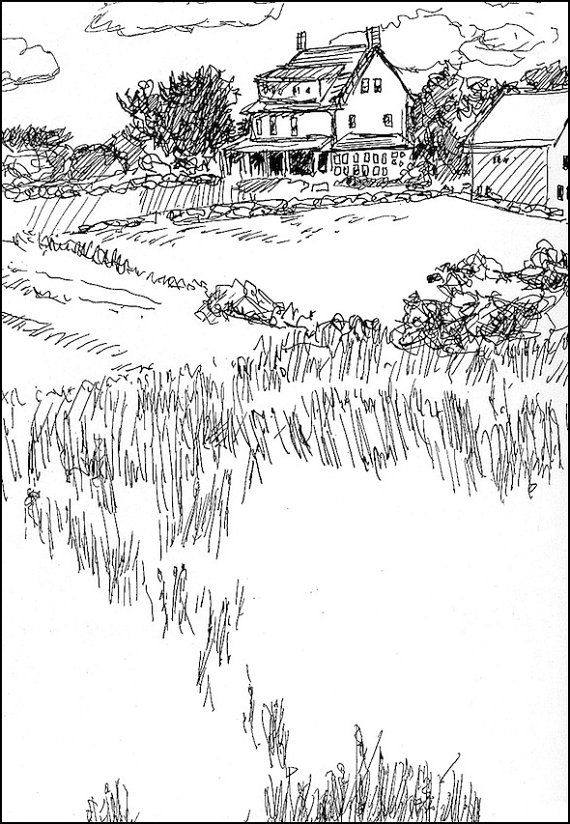 Farm Landscape Drawing