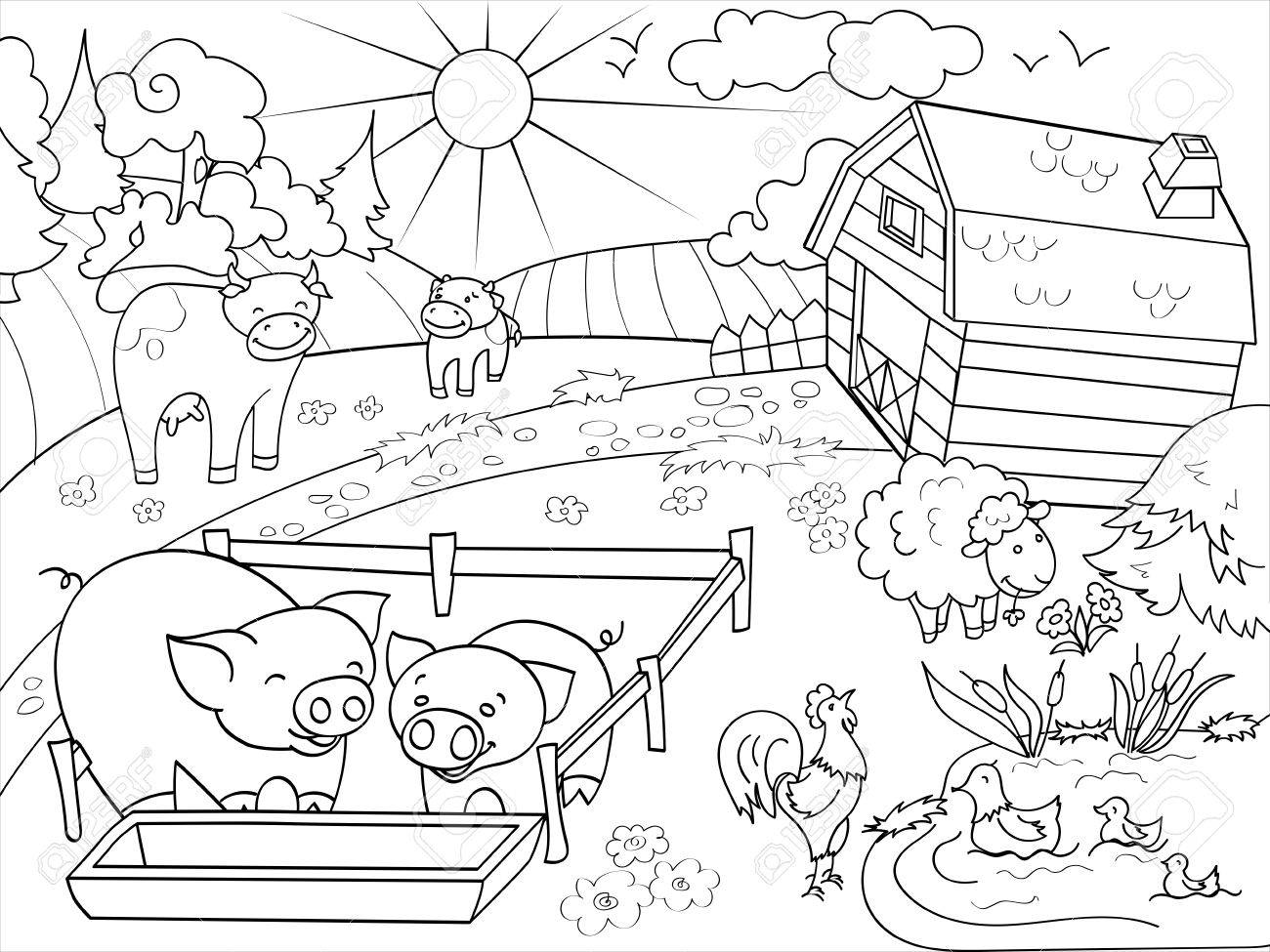 1300x975 Farm Animals And Rural Landscape Coloring Vector For Adults