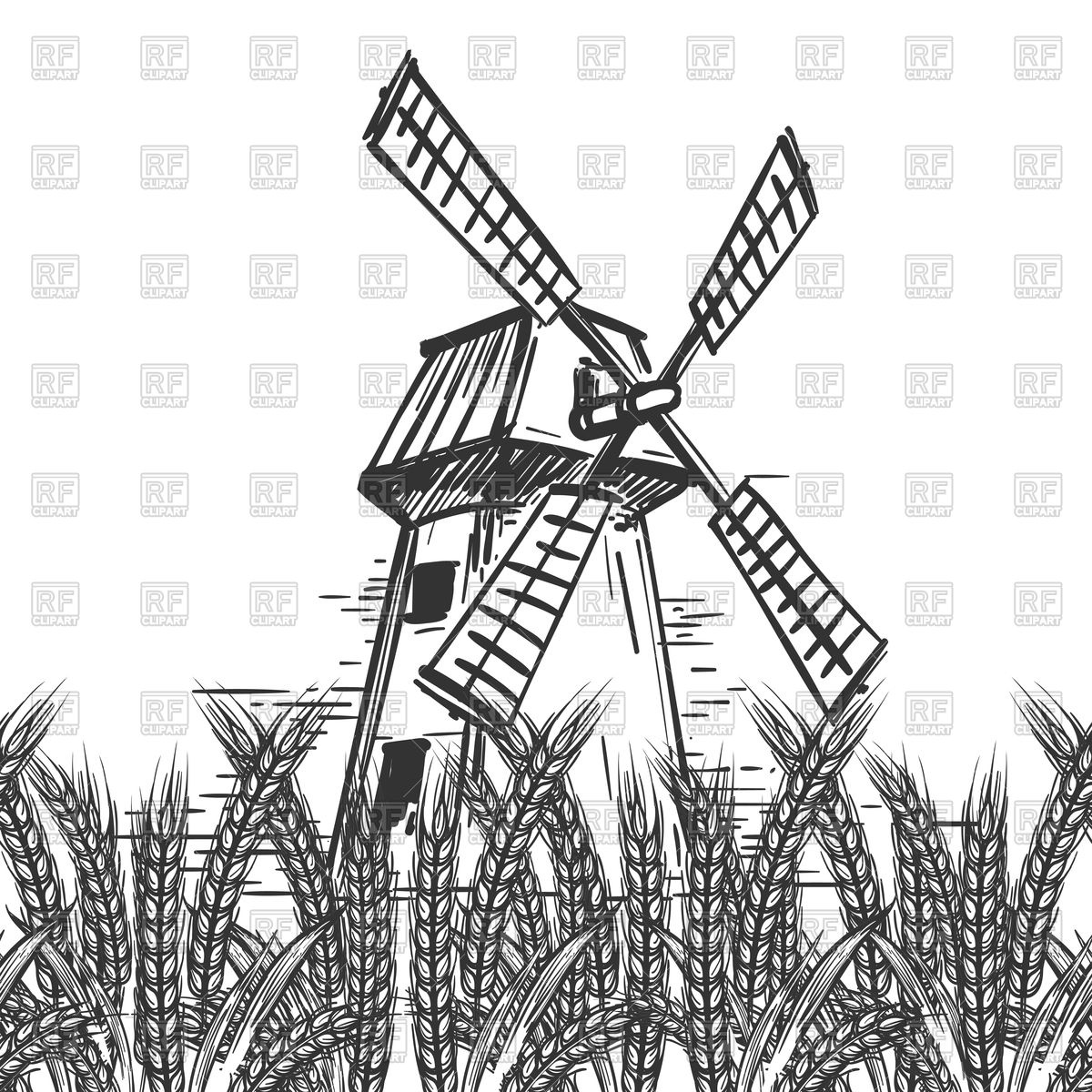 1200x1200 Farm Landscape With Hand Drawn Mill And Wheat Ears Royalty Free
