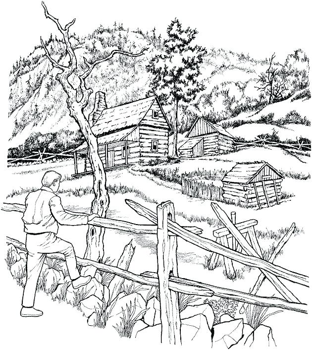 630x706 Landscape Color Pages Free Winter Landscape Coloring Pages To