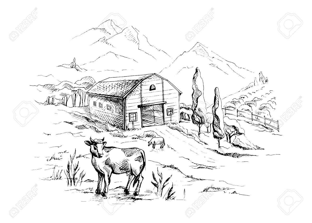 1300x928 Rural Landscape With Cows And Farm With Mountain Scenery