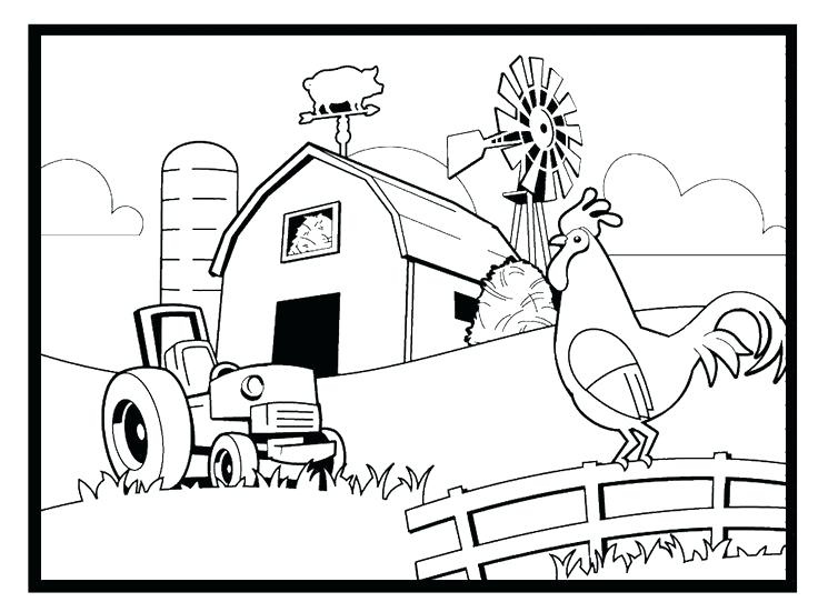 736x551 Farm Coloring Pages Farm House Coloring Page Free Farm Scene