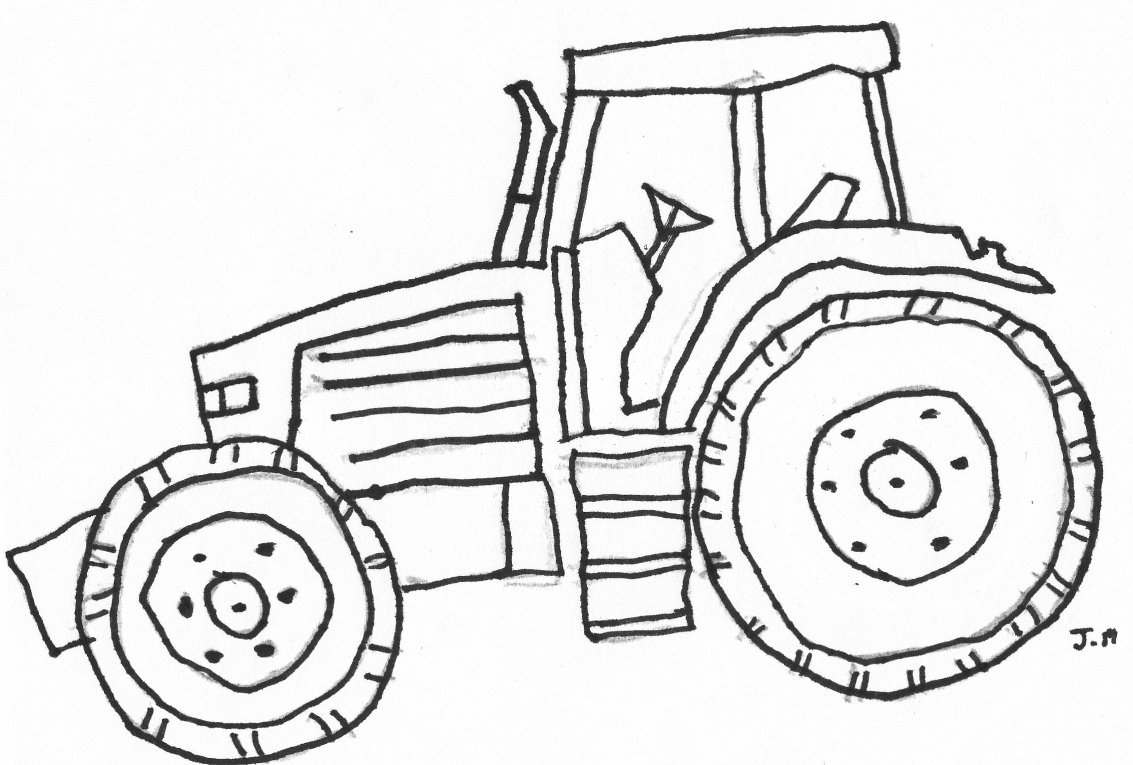 2232x1508 Easy John Deere Tractor Drawing Coloring Pages Of John Deere