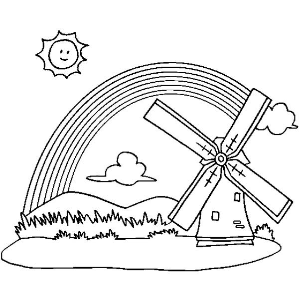 600x600 A Panoramic View Of Rainbow And A Windmill Coloring Page