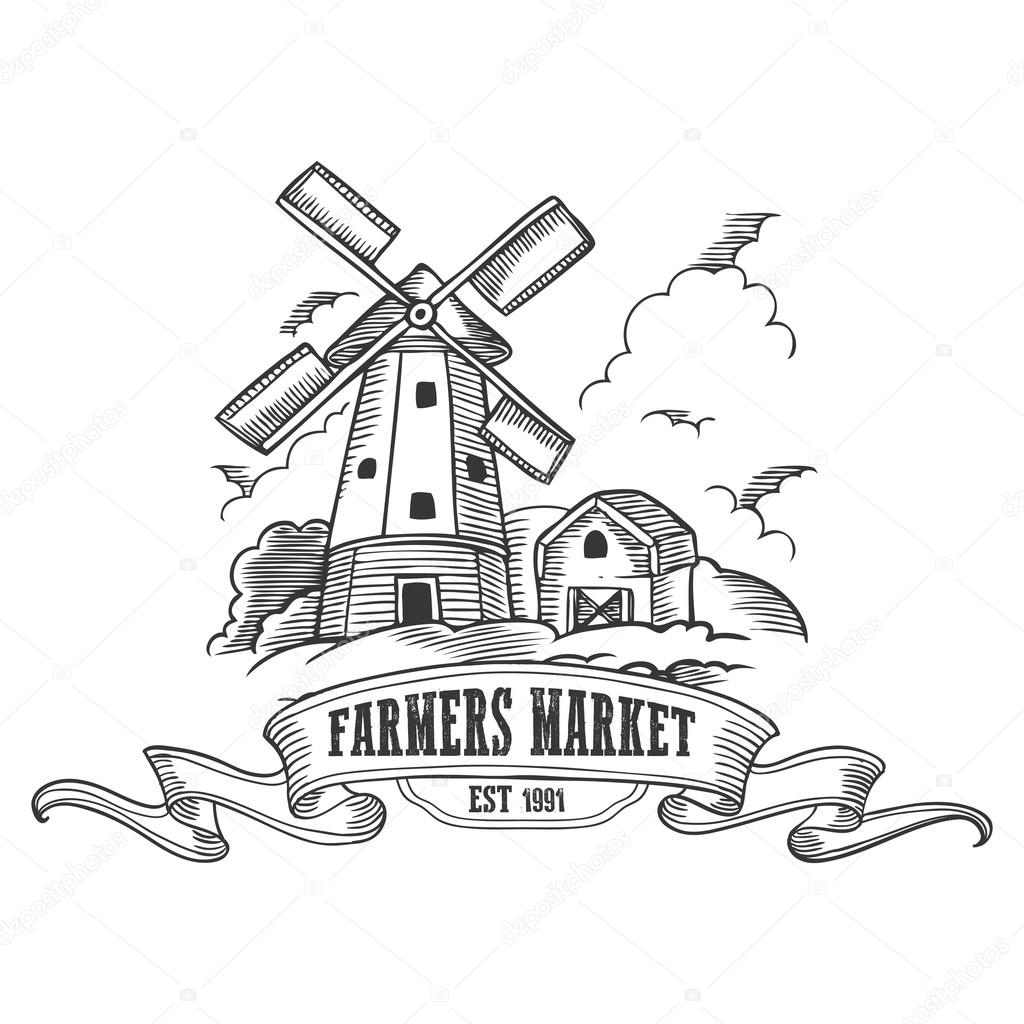 farm windmill drawing. 750x891 Farm Windmill Drawing. 1024x1024 Farmers Market Badge. Monochrome Medieval Vintage Drawing D