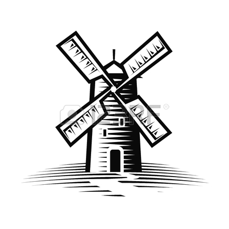 450x450 Mill, Windmill Logo Or Label. Flour, Bakery Icon. Vector
