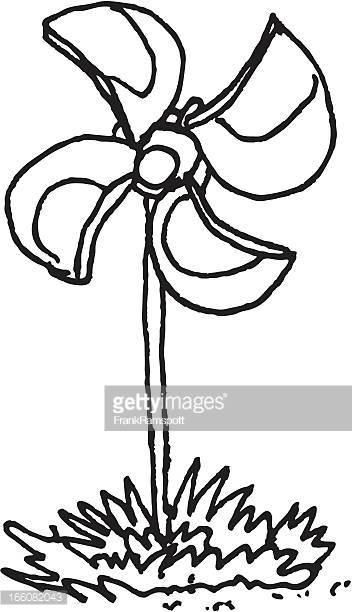 352x612 Paper Windmill Drawing