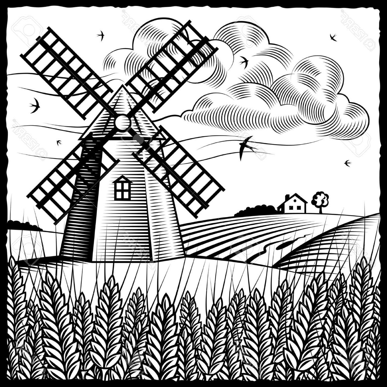 1300x1300 Top Landscape With Windmill Black And White Stock Vector Design
