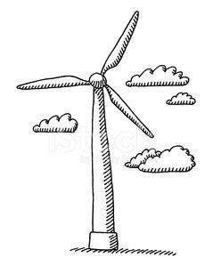 239x299 Wind Turbine Clouds Drawing Premium Clipart