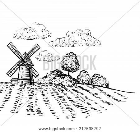 450x425 Windmill On Agricultural Field On Vector Amp Photo Bigstock