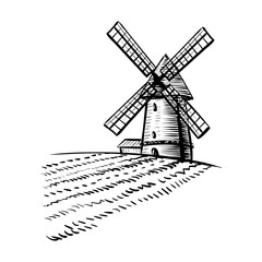240x240 Windmill On Agricultural Field On Background Trees And Rural