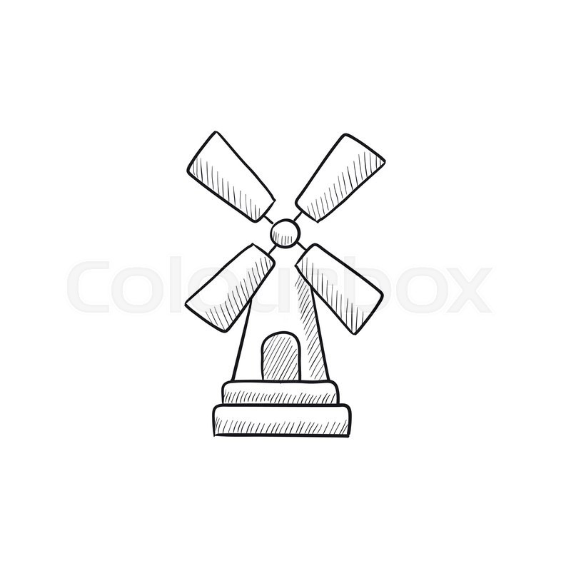 800x800 Windmill Vector Sketch Icon Isolated On Background. Hand Drawn